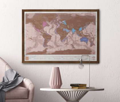 Travel scratch map paper anniversary gift for couples