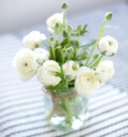 a clear vase full of ranunculus flowers and bulbs