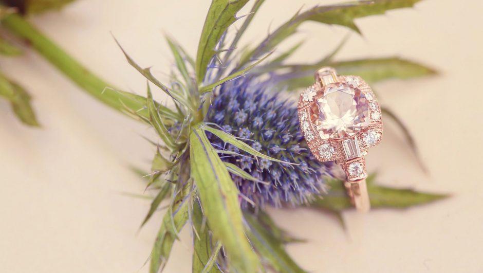 Morganite gemstone engagement ring