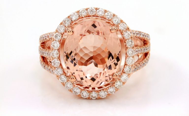 Oval Cut Morganite Engagement Ring Rose Gold halo