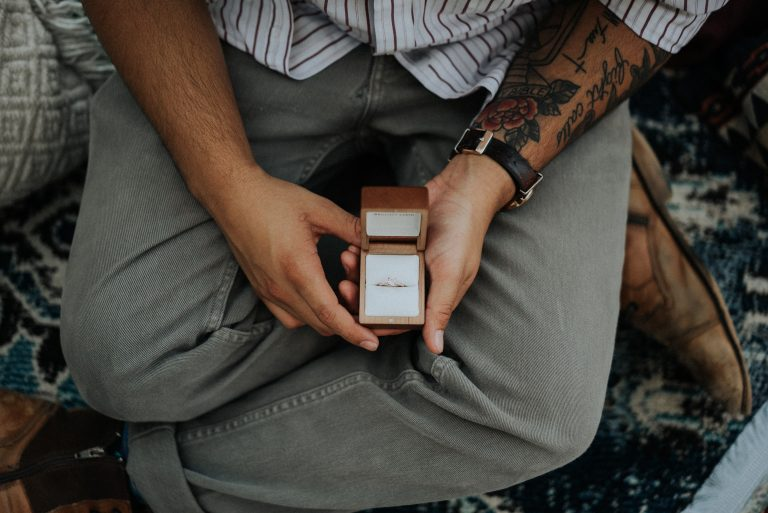 Man holding engagement ring about to propose