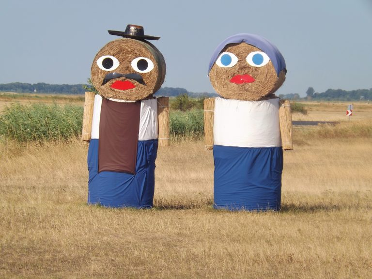 A couple created out of hay balls in Hungary