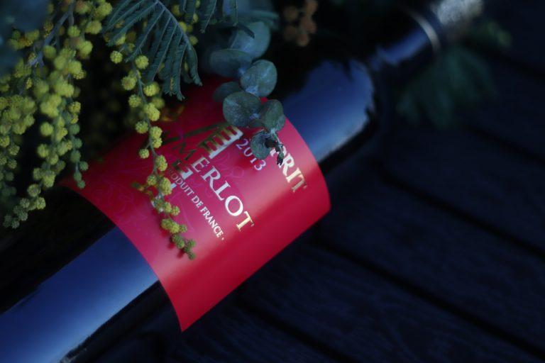 bottle of merlot wine