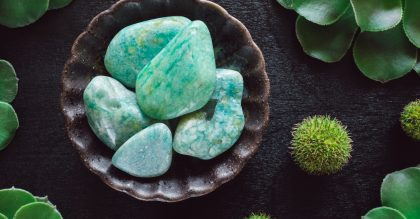 amazonite crystals on plate