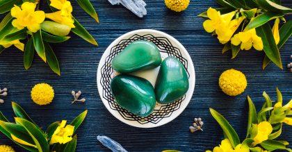 aventurine stones on a plate