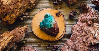 chrysocolla crystal on wood