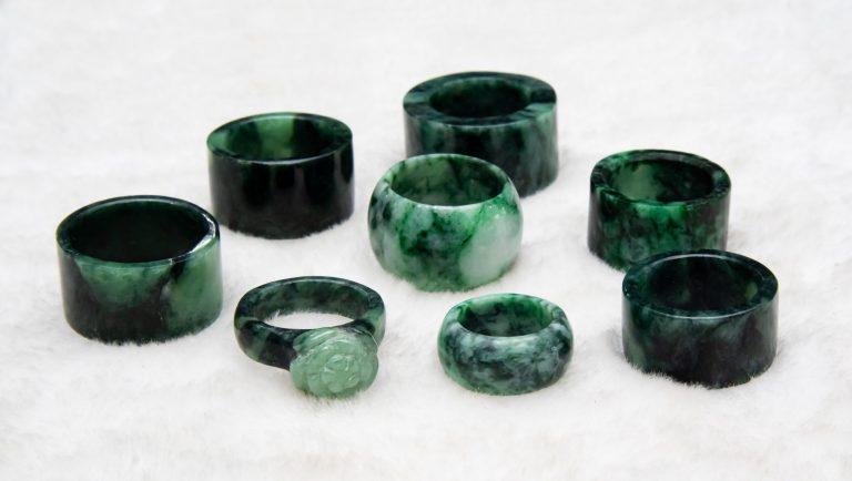 dark green jade crystal rings
