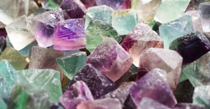 different colored fluorite crystals